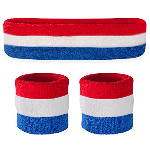 Suddora Striped Sweatband Set - (1 Headband and 2 Wristbands) High Quality Cotton for Sports & More. (Red White and Blue) (Red White Blue Headband compare prices)