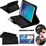 Galaxy Tab E 9.6 Keyboard Case with Screen Protector & Stylus, REAL-EAGLE Separable Fit PU Leather Case Cover Magnetically Bluetooth Keyboard For Tab E 9.6 Inch SM-T560, T561,T567,Black (Color: Black, Tamaño: Samsung Galaxy Tab E 9.6)