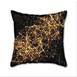 Cotton Linen Throw Pillow, Decorative Pillows.? Shiny Golden Dots Connected Lines On Black Cotton Linen Square Decorative Throw Pillow Case Cushion Cover 18 x 18 Inch