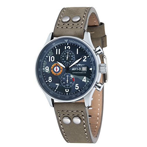 Avi-8 Hawker Hurricane Men's Quartz Watch with Multicolour Dial Analogue Display and Beige Leather Strap AV-4011-08