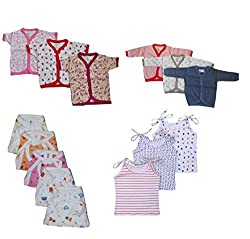 NammaBaby Cotton Front Open Half-Full Sleeves Vest 6pc Tying Jhabla 3pc Nappy 6pc Combo Pack Of 15 Pc For New Born (3-6 Months) M SIZE