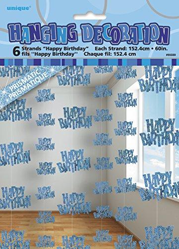 Décoration suspendue Happy Birthday bleu