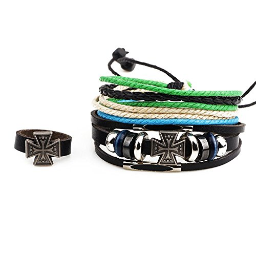 Winter's Secret Three Piece Suit Multi Strand Cross Alloy Beaded Adjusatble Black Leather Wrap Bracelet (Mix Secrets For The Small Studio compare prices)