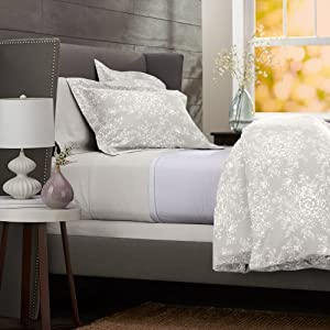 Pinzon Lightweight Cotton Flannel Duvet Cover - Full/Queen, Floral Grey