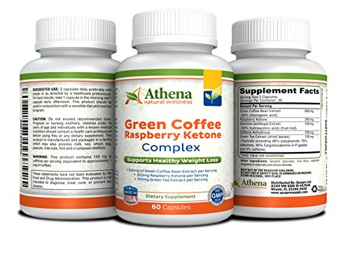 Athena - Green Coffee Extract with Ketone, Garcinia Cambogia and Green Tea Extracts - 60 Capsules - Made in the USA (Leptin Green Coffee 800 compare prices)