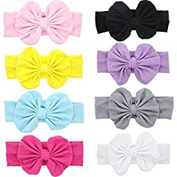 Jastore® Baby Girl Cute Turban Headband Head Wrap Knotted Hair Band (Style 15 (8 Pieces))