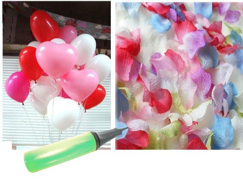 Circa 100 di cuore palloncino palloncino a forma di cuore con facilit? petalo bagno la doccia di fiori (caso aria) pompa (doccia Flower) set (japan import)