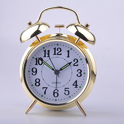 HITO™ 4 Silent Quartz Analog Twin Bell Alarm Clock with Nightlight and Loud Alarm (NO15)