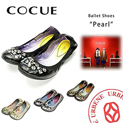 (コキュ) COCUE パール ビジュー バレエシューズ (24003 27009) レディース 靴 50(25.0cm) ゴールド(007)