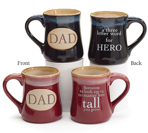 Dad Ceramic Mugs with Inspirational Message, Set of 2