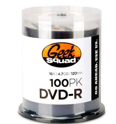Geek Squad - 100-Pack 16x DVD-R Disc Spindle