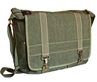 Military Style Khaki Green Canvas Messenger Bag Sling Daypack Shoulder Bag
