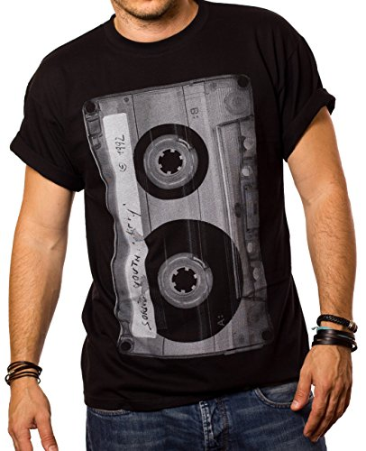MAGLIETTA MUSICA UOMO - T-shirt Cassetta Hip Hop Rock Band Sonic Youth - nera L