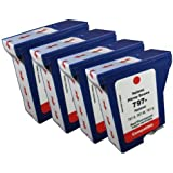 4pk of Compatible Pitney Bowes 797-0 797-M 797-Q Postage Meter ink for use in Pitney Bowes MailStation, K700, K7M0, MailStation 2 machines-red fluorescent