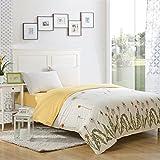 Ttmall Twin Full Queen Size 100%cotton 3-pieces Gray Green Lemon Yellow Dandelion Flowers Flroal for Girls Printed Duvet Cover Set/bed Linens/bedclothes/bedding Sets/bed Sets/bed Covers/4-pieces Comforter Sets Bed in a Bag (Twin, 3 without comforter)