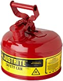 Justrite 7110100 - Galvanized Steel, Type I Red Safety Can, With Large ID Zone, Meets OSHA & NFPA Standards For Handling Hazardous liquids.  1 Gallon (4L) Size.