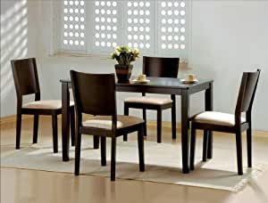 5PC Espresso Dining Table And Chairs Set Kitchen Dining