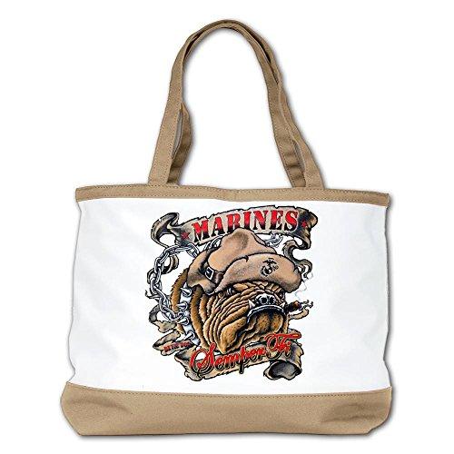 Royal Lion Marines Semper Fi Devil Dog Smoking Shoulder Handbag Tan