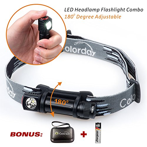 Ultralight Waterproof LED Headlamp Flashlight Combo, 150 Lumens, 1.2oz, Compact, Full-metal body, Best gift for Running, Caving,Camping, Hiking, Cycling, Kids, 1 Energizer AA battery Included.Colorday