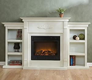 tennyson electric fireplace with bookcases antique white finish gas logs. Black Bedroom Furniture Sets. Home Design Ideas