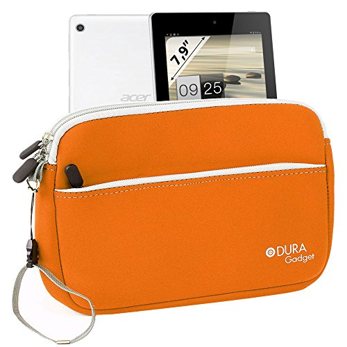 """Duragadget Fantastic Orange """"Travel"""" Neoprene Case With Zipped Front Storage Compartment For Acer Iconia A1-810-L416 7.9-Inch 16 Gb Tablet"""