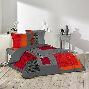 Douceur d'Intérieur 1640987 Quadro - Juego de cama (3 piezas, estampado, 240 x 220 x 240 cm)