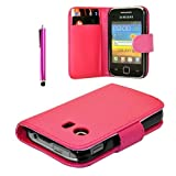 New Leather Wallet Flip Case Cover Pouch for Samsung Galaxy Y GT-S 5360 Mini-Sim + FREE SCREEN GUARD + STYLUS PEN (Pink)