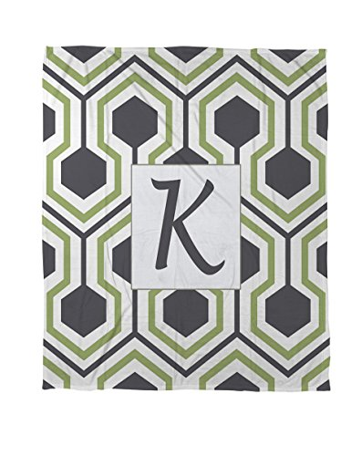Thumbprintz Coral Fleece Throw, 50 By 60-Inch, Monogrammed Letter K, Grey Honeycomb front-444933