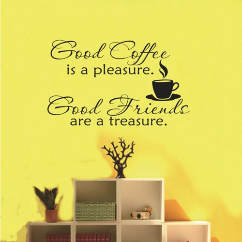 Newsee Decals Good Coffee Friends Wall Vinyl Decal