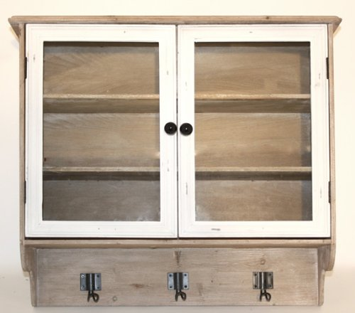Distressed Wood And Glass 2 Door Wall Cabinet With Hooks
