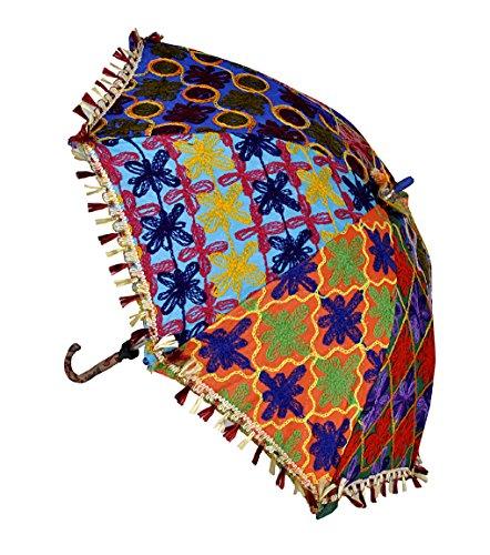 4a07865d8c6a2 Lalhaveli Vintage Embroidered Designer Cotton Rajasthani Umbrella Children  Parasol 61 x 71 Cm