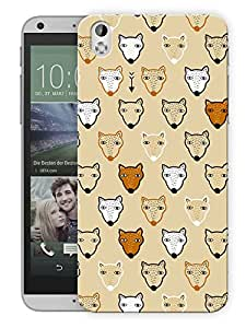 """Humor Gang Wolfs And Foxes Cute Vintage Printed Designer Mobile Back Cover For """"HTC DESIRE 816"""" (3D, Matte Finish, Premium Quality, Protective Snap On Slim Hard Phone Case, Multi Color)"""