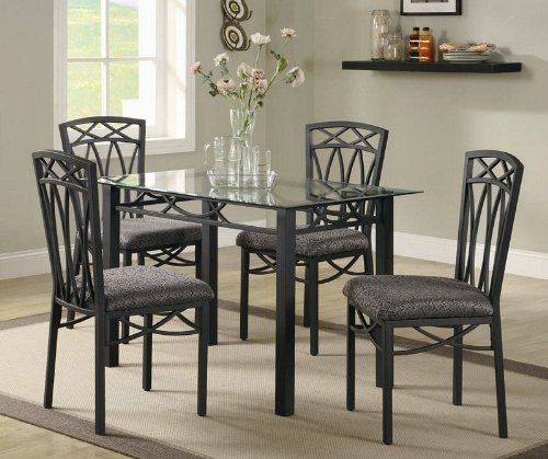 Cheap 5pc Dining Table and Chairs Set with Glass Top in Black Finish (VF_DINSET-120781-120782)