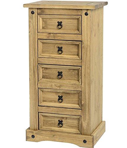 Corona 5 cajones estrecha, armario, madera de pino maciza, cajonera de madera con madera de pino