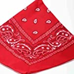 RED bandana scarf black white paisley...