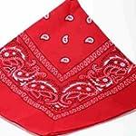 RED bandana scarf black white paisley...