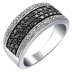 Sterling Silver Black and White Diamond Ring (3/4 CT) In Size 5