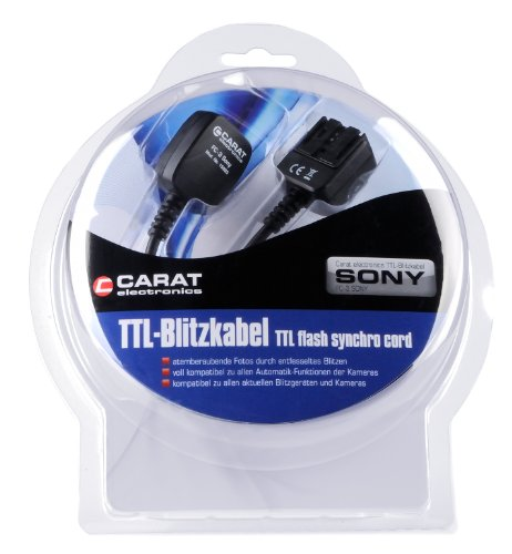 Carat Electronics TTL Câble Flash pour FC - 3 Sony SLT-A58, SLT-A57, SLT-A65, SLT-A77 et SLT-A99 peut être combiné avec HVL-F43AM, HVL-F20S, HVL-F20M
