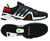 Adidas Men's Adipower Barricade 8 Tennis Shoe-Black/Metallic Silver/Hi-Res Red