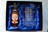 Personalised Alaska Crystal Glass & Southern Comfort in Silk Gift Box 18th/21st/30th/40th/50th/60th/70th Birthday/Mum/Wedding Present