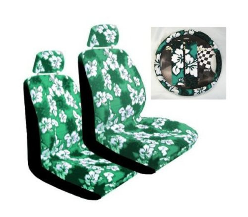 Green Hibiscus 7-piece Lowback Seat Covers / Steering Wheel Cover / Shoulder Belt Pads