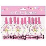 Pack 10 Childrens Birthday Party Blowers - Girls Fairy Princess