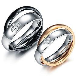 Couple rings for love cross jwelleries for women finger rings for girls 2 piece couple bandALRG0374ML