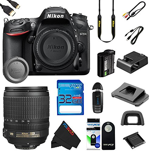 Pixibytes discount duty free Nikon D7200 DSLR AF-S DX NIKKOR 18-105mm f/3.5-5.6G ED VR Lens + Pixi-Basic Accessory kits