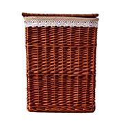 Rurality Classical Wicker Laundry Basket with Lid and Linen Liner