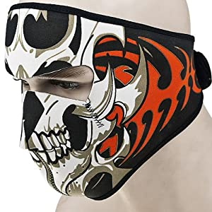1x Reversible Windproof Black Tribal Classic Skull Neoprene Half Face Mask Facemask Headwear Vented Velcro Adjustable Motorcycle Atv Biker Bike Cycling Mask