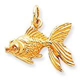 10K Yellow Gold Gold Fish Charm Aquarium Jewelry