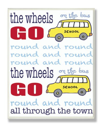 The Kids Room by Stupell The Wheels on the Bus Nursery Rhyme Blue Typography Rectangle Wall Plaque