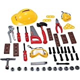 52 Pcs Construction Hard Hat with Pretend Play Tools and Accessories Set