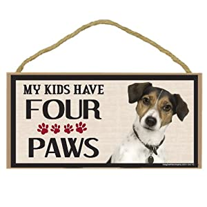 Imagine This Wood Breed Four Paws Sign, Jack Russell